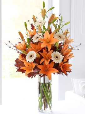 Orange Asiatic Lily Atumnal Vase