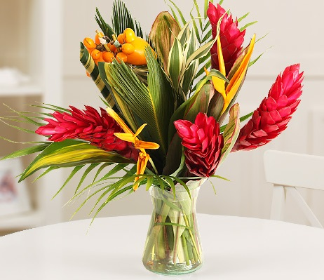 Ginger Lily and Heliconia Autumnal Bouquet